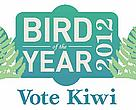 Bird of the Year logo, adapted to have an illustration of a kiwi either side of the 'bird of the year' slogan in the centre of the logo.