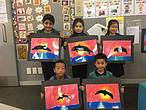Kohia Terrace School children showing their M&#257;ui dolphin artwork. From back left Bader, Audrey and Brooklyn. From front left Jerry and Reagan. <br />&copy;&nbsp;Kohia Terrace School