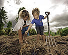 Denise LaGrouw from Hannah's bay restoration Trust plants heritage spuds with her son William in a community garden on the Rotorua lakeshore.