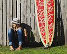 Jamie McDell and surfboard