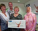 Wellington-based artist Janet Andrews presents cheque to WWF. L-R - Janet Andrews, Selar Henderson, WWF fundraising manager; Denise Church, WWF trustee; Ms Rosmidah Zahid, Her Excellency the High Commissioner for Malaysia