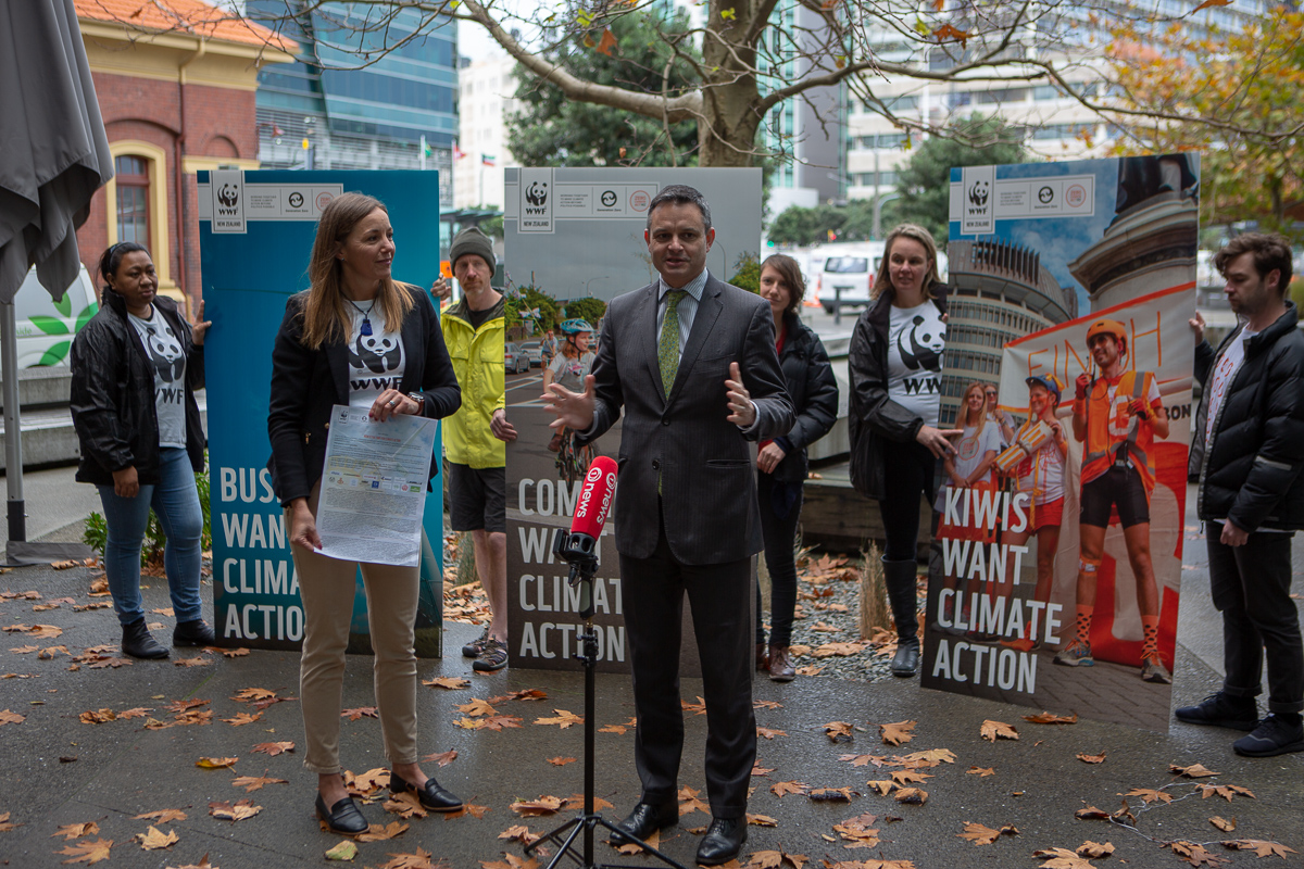 WWF CEO Livia Esterhazy giving the climate open letter to Minister James Shaw