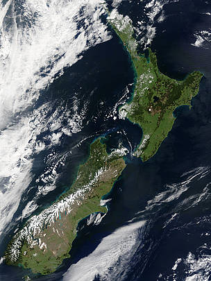 Satellite image of New Zealand.
