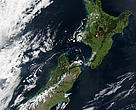 A rare satellite image of New Zealand on a cloud-free day, 2002.